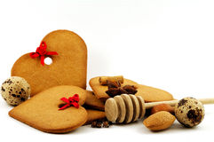 Gingerbread. With imgredients for san valentine or christmas decoration Royalty Free Stock Images