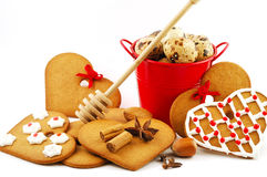 Gingerbread. And ingredients for san valentine or christmas decoration Royalty Free Stock Photos