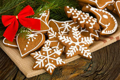 Gingerbread. Homemade christmas cookies on wooden board Royalty Free Stock Images