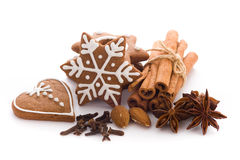 Gingerbread. Homemade Christmas cookies on white background Stock Photography