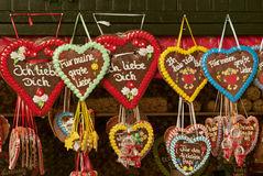 Gingerbread. Colorful traditional gingerbread hearts at Christmas market in Germany stock photography