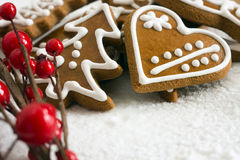 Gingerbread. Homemade christmas cookies - gingerbread on snow background Stock Image