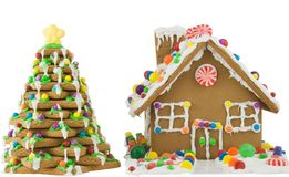 Gingerbread. House and tree isolated on white Stock Images