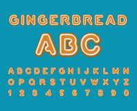 Gingerbread ABC. Christmas cookie Alphabet . Mint Cookies font. Royalty Free Stock Photos