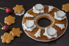 Gingerbread Advent Wreath. With candles Royalty Free Stock Images