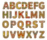 Gingerbread alphabet with glaze. Christmas or New Year alphabet cookies set with glaze vector illustration.  textured letters on white background Royalty Free Stock Images