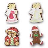 Gingerbread angel, bear man on white background Stock Images