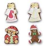 Gingerbread angel, bear man on white background royalty free illustration