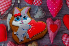 Gingerbread with drawings of the beast with hearts for the feast of the holy valentine. Gingerbread with animals, with hearts on holiday, valentine Stock Images