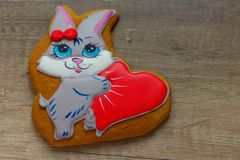 Gingerbread with drawings of the beast with hearts for the feast of the holy valentine. Gingerbread with animals, with hearts on holiday, valentine Royalty Free Stock Images