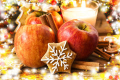 Gingerbread with Apples and Spices with Christmas Decoration Royalty Free Stock Image