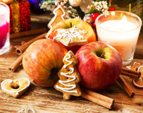Gingerbread with Apples and Spices with Christmas Decoration Stock Photography