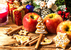 Gingerbread with Apples and Spices with Christmas Decoration Stock Images