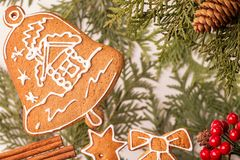 Gingerbread as little bell as christmas decoration royalty free stock photo