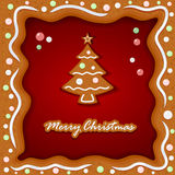 Gingerbread background with Christmas tree Stock Photo