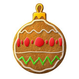 Gingerbread bauble symbol decorated colored icing Stock Photography