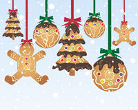 Gingerbread baubles. An illustration of festive gingerbread treats made in to christmas decorations with red and green ribbon on a blue and white snowy Royalty Free Stock Photos