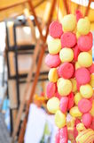 Gingerbread bead hanging for sale on a market Stock Image