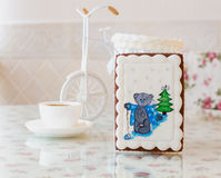 Gingerbread bear new year Stock Photos