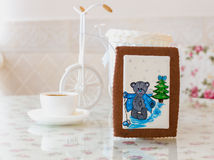 Gingerbread bear new year Stock Images