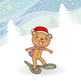 Gingerbread bear winter event action icon. Royalty Free Stock Image