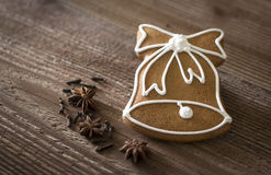 Gingerbread bell with spices Royalty Free Stock Image