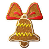 Gingerbread bell symbol decorated colored icing. Holiday cookie in shape of jingle bell sign. Qualitative vector (EPS-10) design element for new year's day stock illustration
