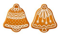 Gingerbread bells set. Traditional Christmas cookies. Set of traditional Christmas ginger cookies decorated with sugar icing. Gingerbread bells. Stock vector stock illustration