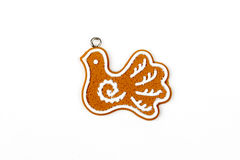 Gingerbread bird's - dove's figure,  snow. Christmas tree, New Year, winter decors. Sugar frosted cookies. Christmas decorations. Isolated on white Stock Photography