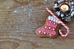 Gingerbread biscuit on the wooden board Royalty Free Stock Photos