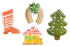 Gingerbread biscuits, Christmas cookies Stock Images