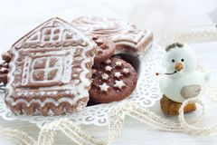 Gingerbread and biscuits in holiday Stock Images