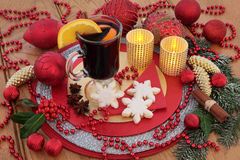 Gingerbread Biscuits and Mulled Wine Stock Photography