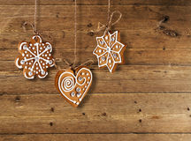 Gingerbread biscuits on old wooden background Stock Image