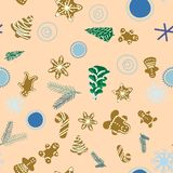 Gingerbread biscuits, pine trees and pine tree twigs seamless pattern on beige background royalty free illustration