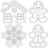 Gingerbread black and white poster - house, man, woman, snowflake. Coloring book page for adults and kids. Winter holiday theme vector illustration for stock illustration