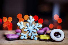 Gingerbread blue star with colorful candy Royalty Free Stock Photo