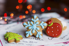 Gingerbread blue star ,green tree and strawberry  .Christmas concept Royalty Free Stock Image