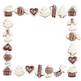 Gingerbread border frame Stock Photos