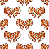 Gingerbread bows seamless Royalty Free Stock Photos
