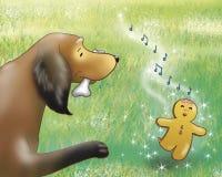 Gingerbread boy and dog royalty free illustration