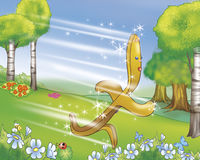 Gingerbread boy down the hill stock illustration
