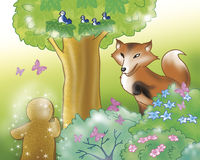 Gingerbread boy and fox in the wood Stock Photo