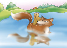 Gingerbread boy and fox. Sweet ginger bread boy crossing the river on the back of the fox. Digital illustration for the gingerbread boy fairy tale royalty free illustration