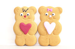 Gingerbread boy and girl. Gingerbread cookies symbolic of love Stock Photos