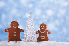 Gingerbread boy and girl  with Shinny Glass Christmas Tree Stock Photography