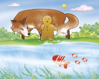 Gingerbread boy and fox near the river Royalty Free Stock Images