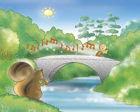 Gingerbread boy running on a bridge Royalty Free Stock Photography