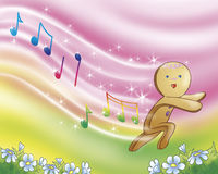Gingerbread boy singing. The gingerbread boy is running and singing. Digital illustration a fairy tale stock illustration