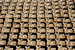 Gingerbread Bunny Background. Gingerbread bunny cookies on a black background Royalty Free Stock Photos
